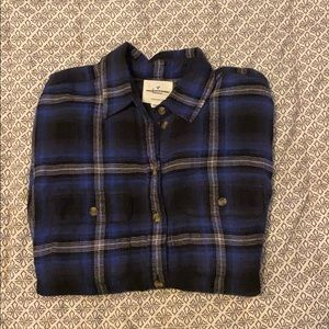 American Eagle Outfitters Blue & White Flannel